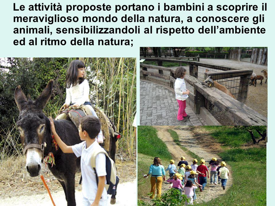 Le attività proposte portano i bambini a scoprire il meraviglioso mondo della natura, a conoscere gli animali, sensibilizzandoli al rispetto dell'ambiente ed al ritmo della natura;