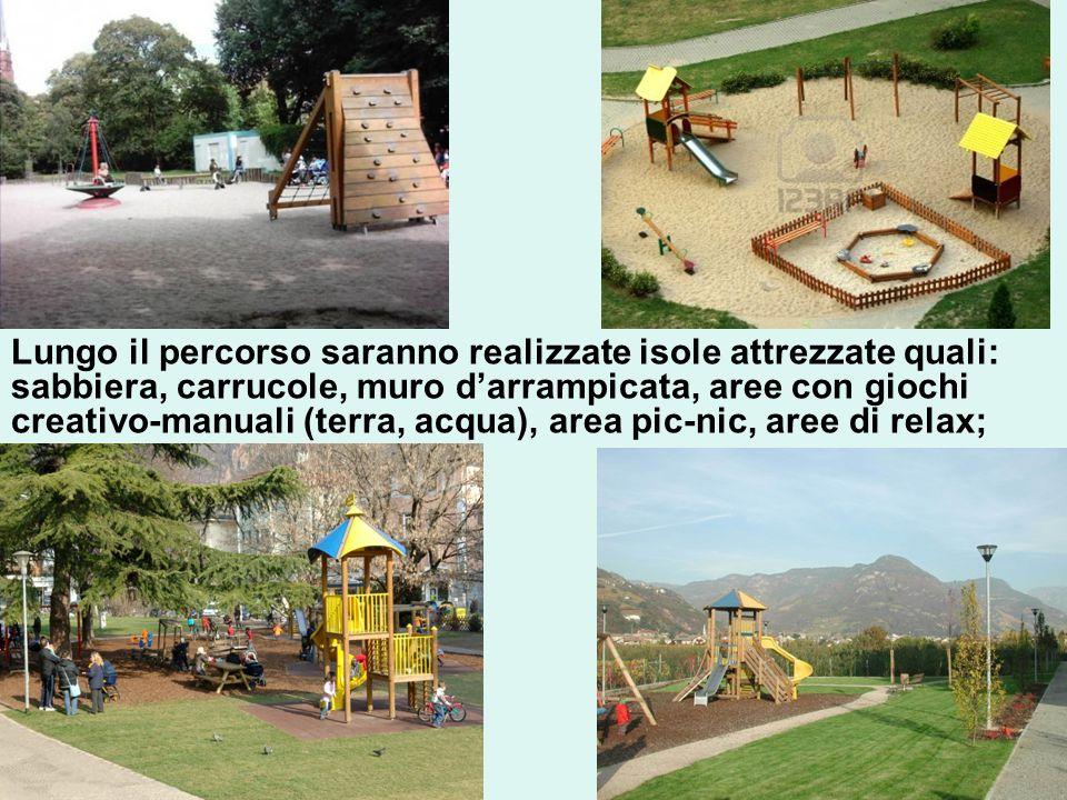 Lungo il percorso saranno realizzate isole attrezzate quali: sabbiera, carrucole, muro d'arrampicata, aree con giochi creativo-manuali (terra, acqua), area pic-nic, aree di relax;