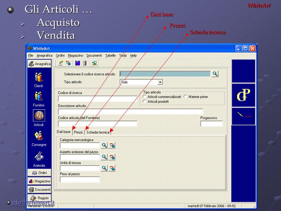 Gli Articoli …  Acquisto  Vendita WhiteArt Prezzi Scheda tecnica Dati base info@whiteart.it