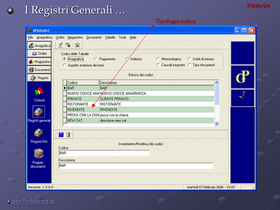 I Registri Generali … WhiteArt Tipologia codice info@whiteart.it