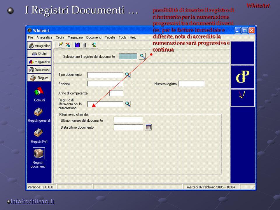I Registri Documenti … WhiteArt possibilità di inserire il registro di riferimento per la numerazione progressivi tra documenti diversi (es. per le fa
