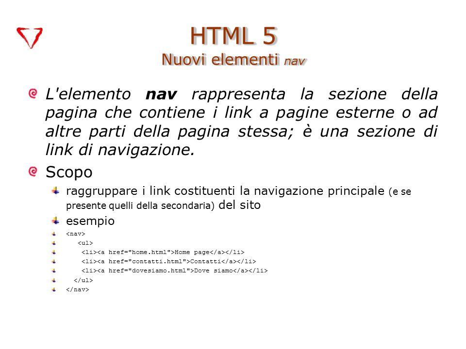 L elemento nav rappresenta la sezione della pagina che contiene i link a pagine esterne o ad altre parti della pagina stessa; è una sezione di link di navigazione.