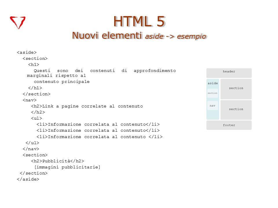 Questi sono dei contenuti di approfondimento marginali rispetto al contenuto principale Link a pagine correlate al contenuto Informazione correlata al contenuto Pubblicità [immagini pubblicitarie] HTML 5 Nuovi elementi aside -> esempio