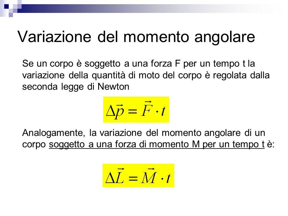 Variazione del momento angolare Se un corpo è soggetto a una forza F per un tempo t la variazione della quantità di moto del corpo è regolata dalla se