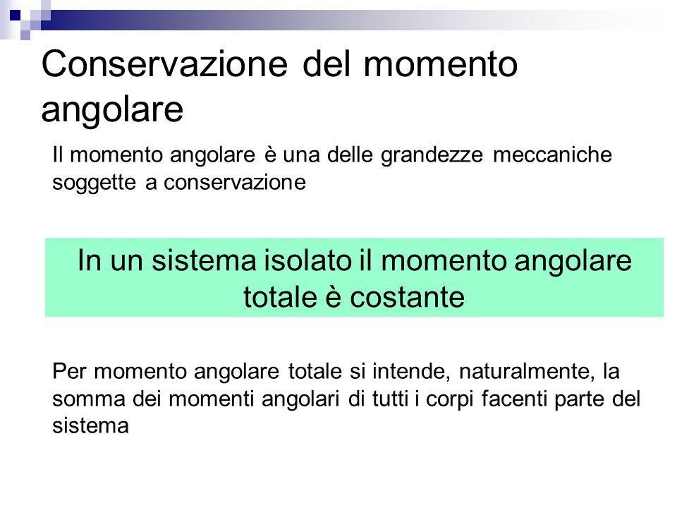 Conservazione del momento angolare Il momento angolare è una delle grandezze meccaniche soggette a conservazione Per momento angolare totale si intend