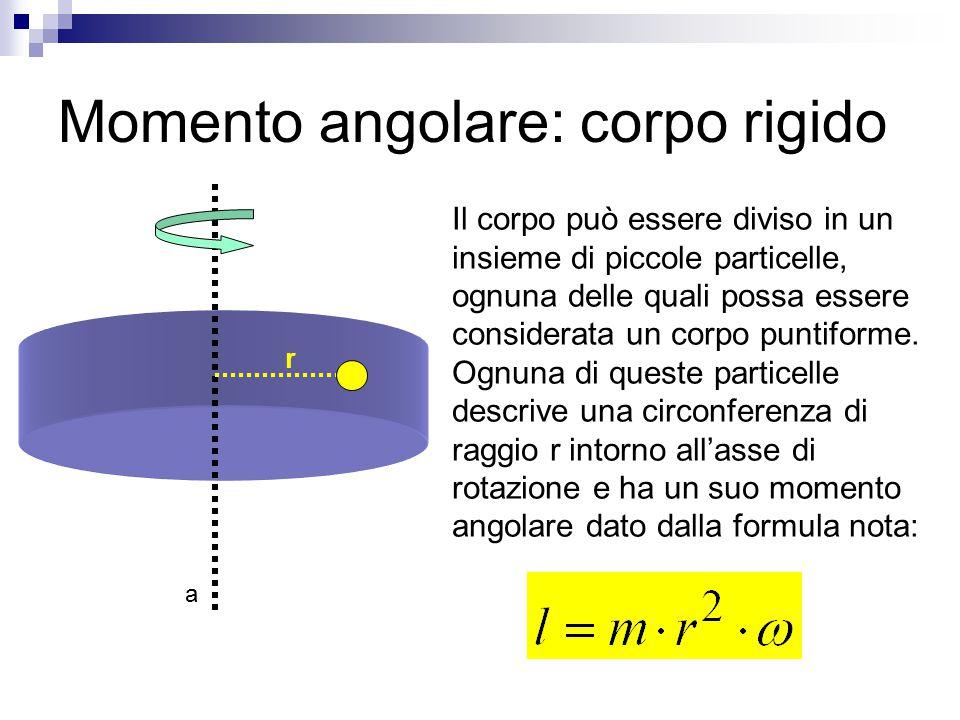 Momento angolare: corpo rigido Il corpo può essere diviso in un insieme di piccole particelle, ognuna delle quali possa essere considerata un corpo pu