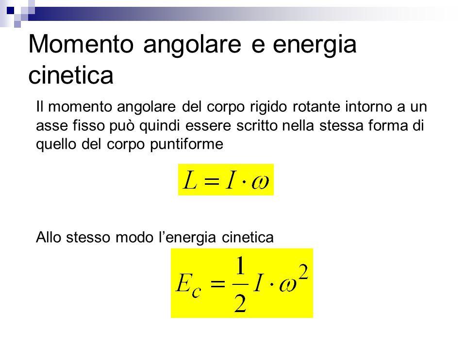 Momento angolare e energia cinetica Il momento angolare del corpo rigido rotante intorno a un asse fisso può quindi essere scritto nella stessa forma