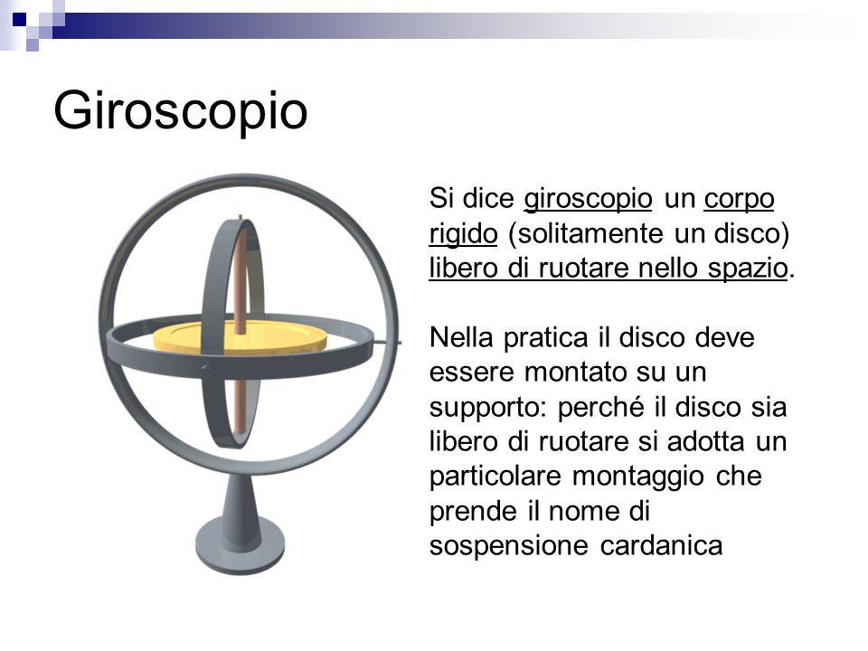 Giroscopio Si dice giroscopio un corpo rigido (solitamente un disco) libero di ruotare nello spazio. Nella pratica il disco deve essere montato su un