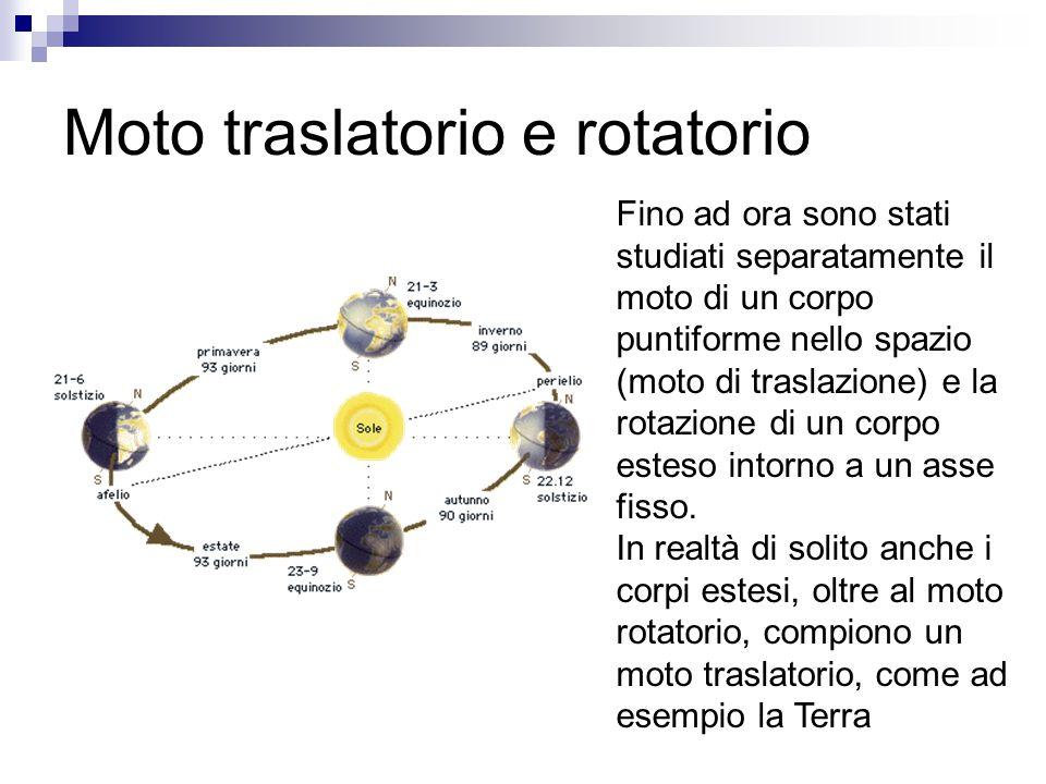 Moto traslatorio e rotatorio Fino ad ora sono stati studiati separatamente il moto di un corpo puntiforme nello spazio (moto di traslazione) e la rota