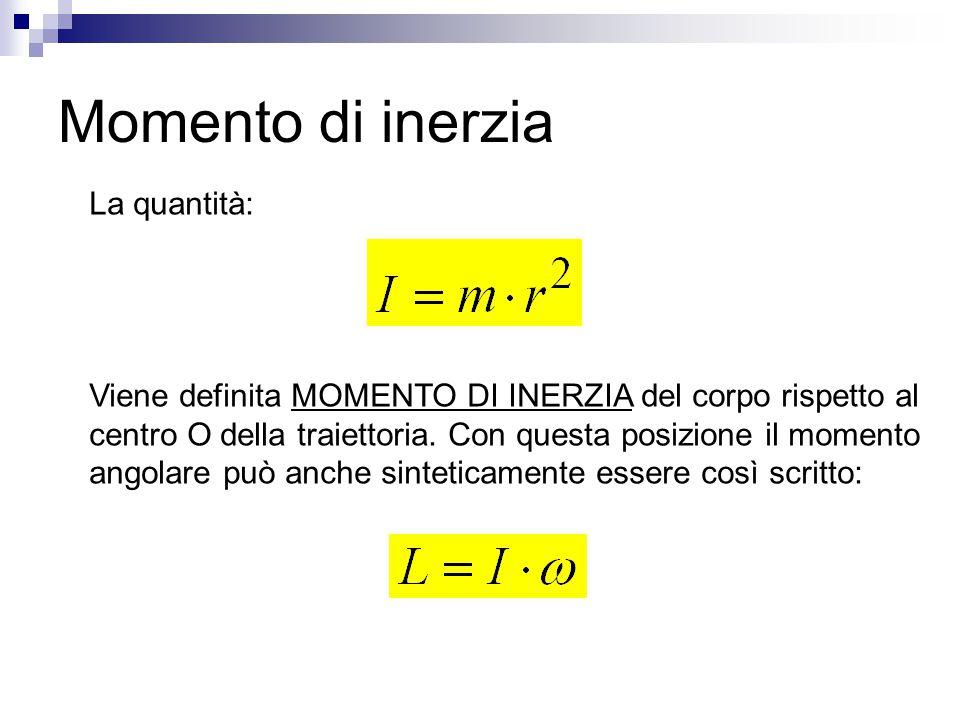 Momento di inerzia La quantità: Viene definita MOMENTO DI INERZIA del corpo rispetto al centro O della traiettoria. Con questa posizione il momento an