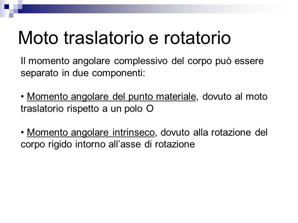 Moto traslatorio e rotatorio Il momento angolare complessivo del corpo può essere separato in due componenti: Momento angolare del punto materiale, do