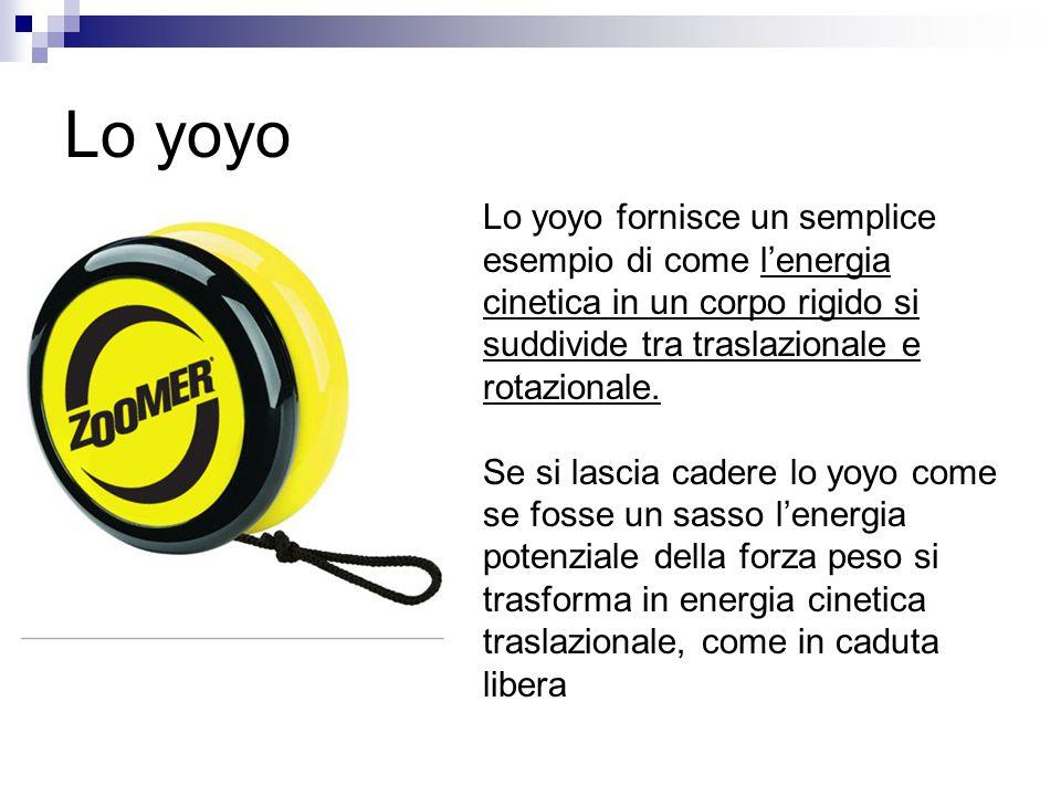 Lo yoyo Lo yoyo fornisce un semplice esempio di come l'energia cinetica in un corpo rigido si suddivide tra traslazionale e rotazionale. Se si lascia