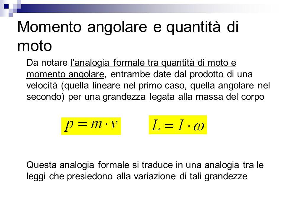Momento angolare e quantità di moto Da notare l'analogia formale tra quantità di moto e momento angolare, entrambe date dal prodotto di una velocità (