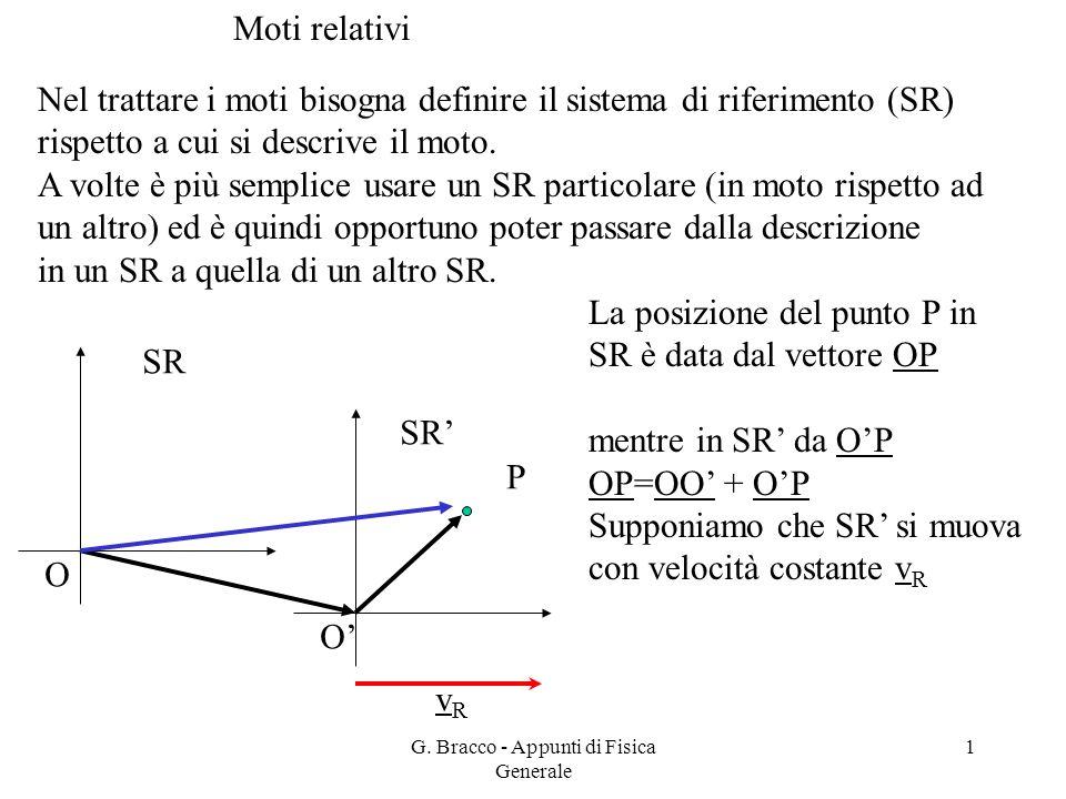 G. Bracco - Appunti di Fisica Generale 1 Moti relativi Nel trattare i moti bisogna definire il sistema di riferimento (SR) rispetto a cui si descrive