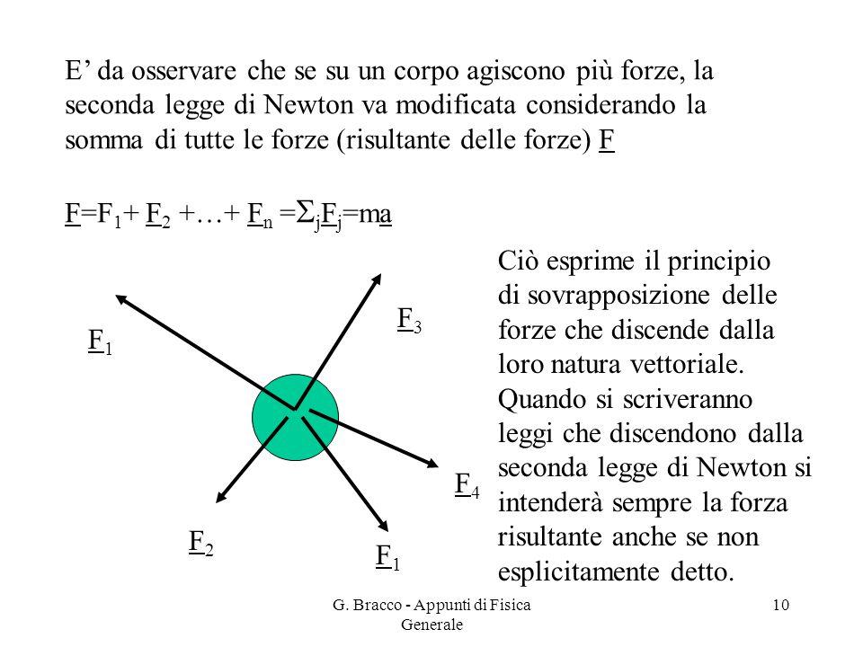 G. Bracco - Appunti di Fisica Generale 10 E' da osservare che se su un corpo agiscono più forze, la seconda legge di Newton va modificata considerando