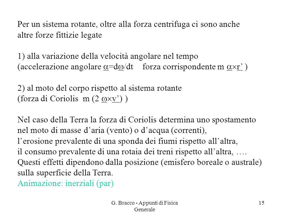 G. Bracco - Appunti di Fisica Generale 15 Per un sistema rotante, oltre alla forza centrifuga ci sono anche altre forze fittizie legate 1) alla variaz