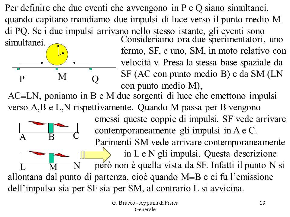 G. Bracco - Appunti di Fisica Generale 19 Per definire che due eventi che avvengono in P e Q siano simultanei, quando capitano mandiamo due impulsi di