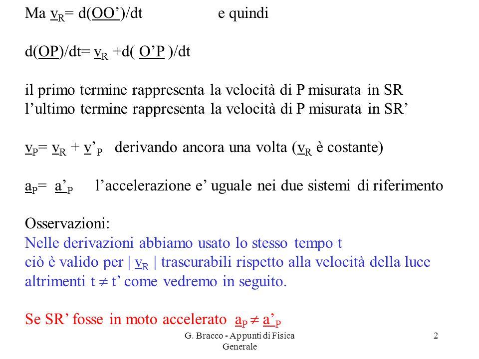 G. Bracco - Appunti di Fisica Generale 2 Ma v R = d(OO')/dt e quindi d(OP)/dt= v R +d( O'P )/dt il primo termine rappresenta la velocità di P misurata