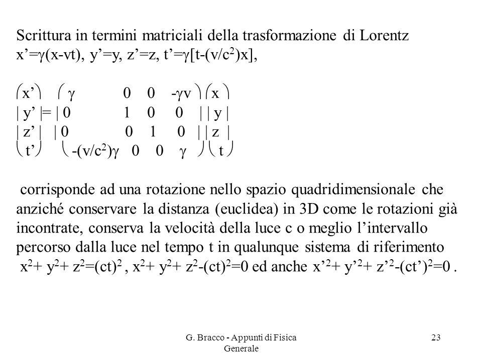 G. Bracco - Appunti di Fisica Generale 23 Scrittura in termini matriciali della trasformazione di Lorentz x'=  (x-vt), y'=y, z'=z, t'=  [t-(v/c 2 )x