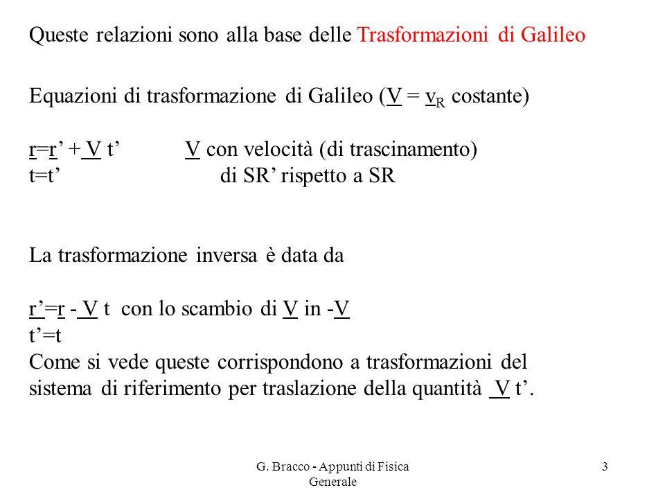 G. Bracco - Appunti di Fisica Generale 3 Queste relazioni sono alla base delle Trasformazioni di Galileo Equazioni di trasformazione di Galileo (V = v