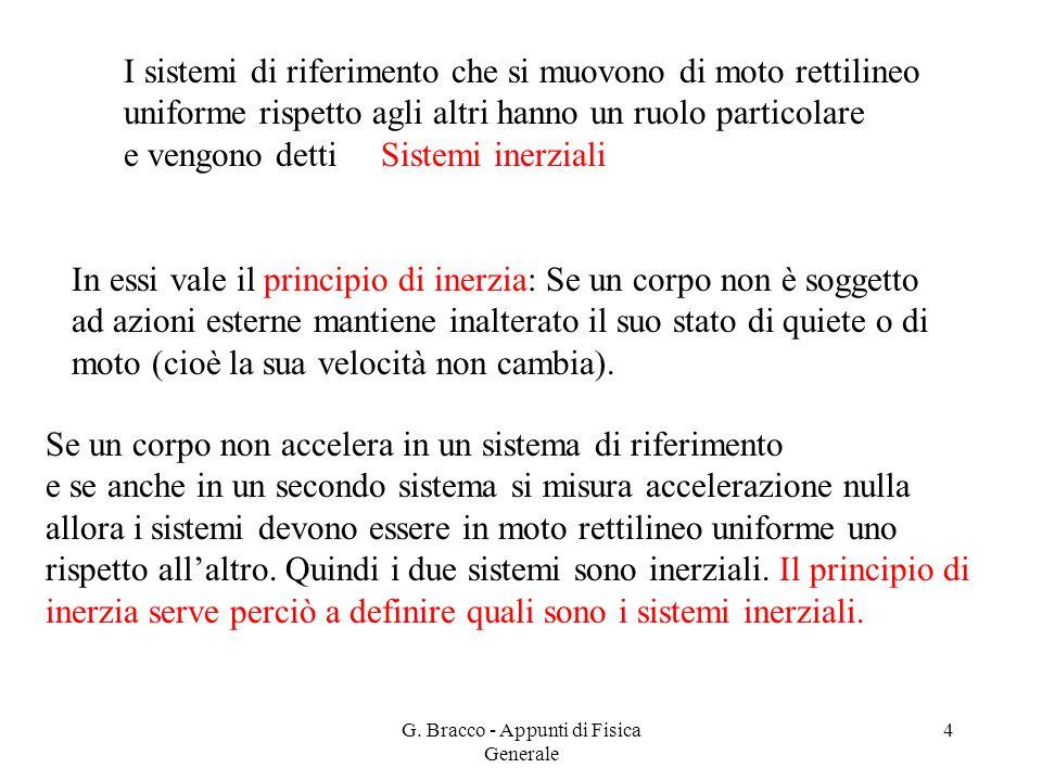 G. Bracco - Appunti di Fisica Generale 4 I sistemi di riferimento che si muovono di moto rettilineo uniforme rispetto agli altri hanno un ruolo partic
