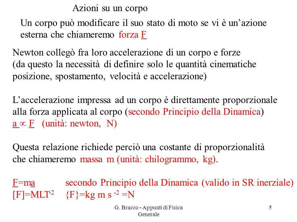 G. Bracco - Appunti di Fisica Generale 5 Azioni su un corpo Un corpo può modificare il suo stato di moto se vi è un'azione esterna che chiameremo forz