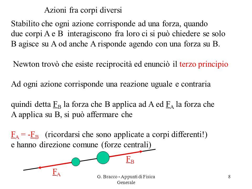 8 Azioni fra corpi diversi Stabilito che ogni azione corrisponde ad una forza, quando due corpi A e B interagiscono fra loro ci si può chiedere se sol