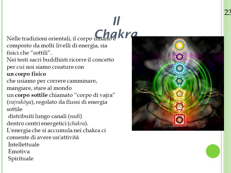 23/08/12 I chakra sono principalmente 7 Ognuno con una proprio simbologia Identificati come Centri di Forza o Sensi Spirituali, i chakra sono considerati centri simbolici del corpo umano All'interno di questo sistema simbolico si manifesterebbe un'energia definita in vari modi Possiamo venire a conoscenza di tale energia attraverso i vari sistemi yoga o nelle diverse tradizioni induiste, buddhiste.