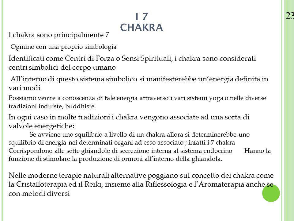 23/08/12 I chakra sono principalmente 7 Ognuno con una proprio simbologia Identificati come Centri di Forza o Sensi Spirituali, i chakra sono consider