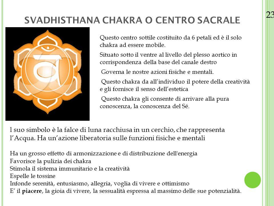 23/08/12 SVADHISTHANA CHAKRA O CENTRO SACRALE Questo centro sottile costituito da 6 petali ed è il solo chakra ad essere mobile. Situato sotto il vent