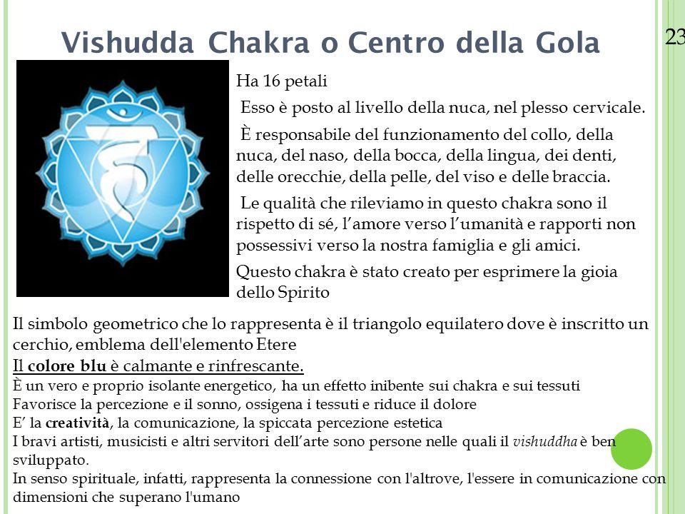 23/08/12 Vishudda Chakra o Centro della Gola Ha 16 petali Esso è posto al livello della nuca, nel plesso cervicale. È responsabile del funzionamento d