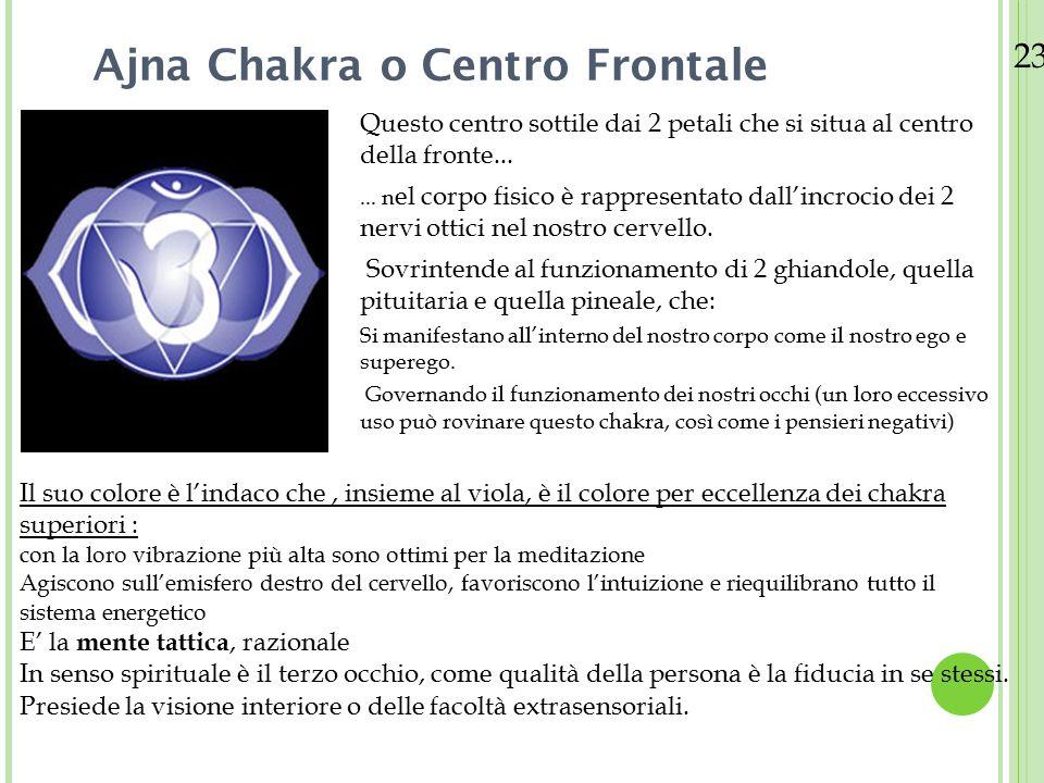 23/08/12 Sahasrara Chakra o Centro Coronale Il Centro Coronale è il chakra più importante di tutti Possiede 1000 petali È collocato nell'area limbica del cervello Il chakra della corona trova posto nella ghiandola pineale, ed è costituita da un unico polo.