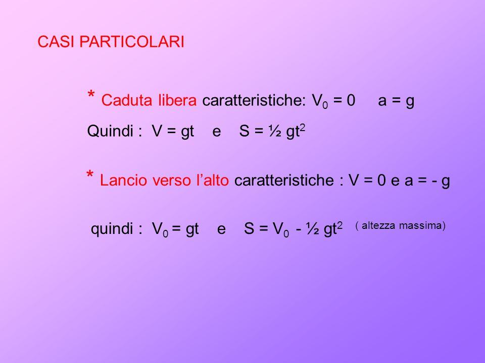 CASI PARTICOLARI * Caduta libera caratteristiche: V 0 = 0 a = g Quindi : V = gt e S = ½ gt 2 quindi : V 0 = gt e S = V 0 - ½ gt 2 ( altezza massima) *
