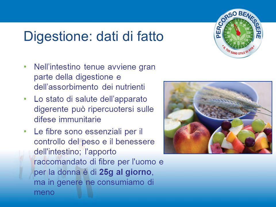 Digestione: dati di fatto Nell'intestino tenue avviene gran parte della digestione e dell'assorbimento dei nutrienti Lo stato di salute dell'apparato