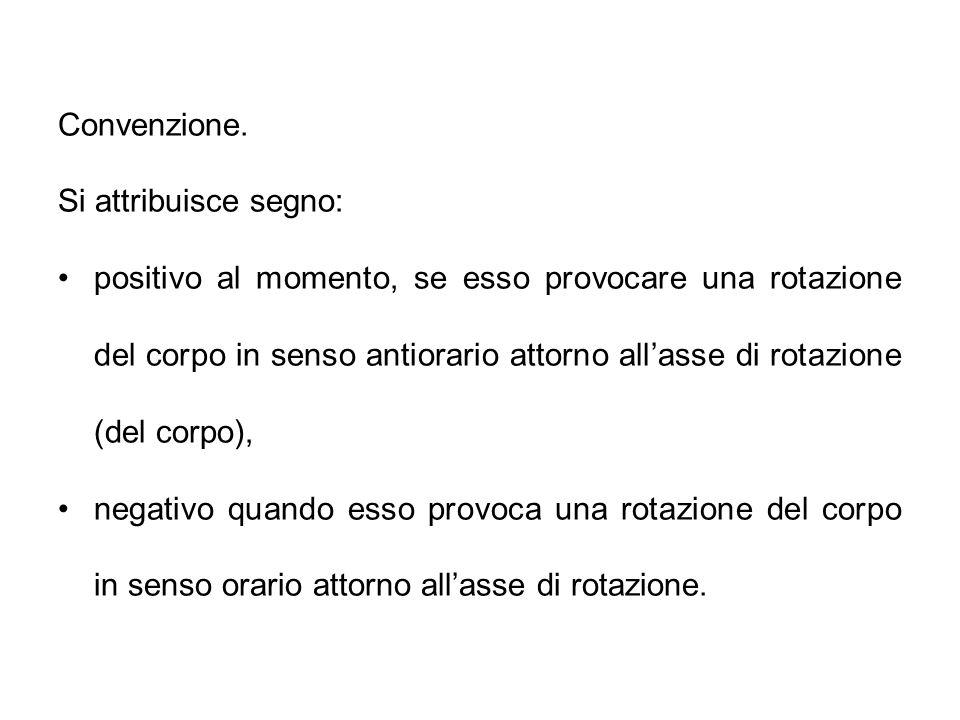 Convenzione. Si attribuisce segno: positivo al momento, se esso provocare una rotazione del corpo in senso antiorario attorno all'asse di rotazione (d