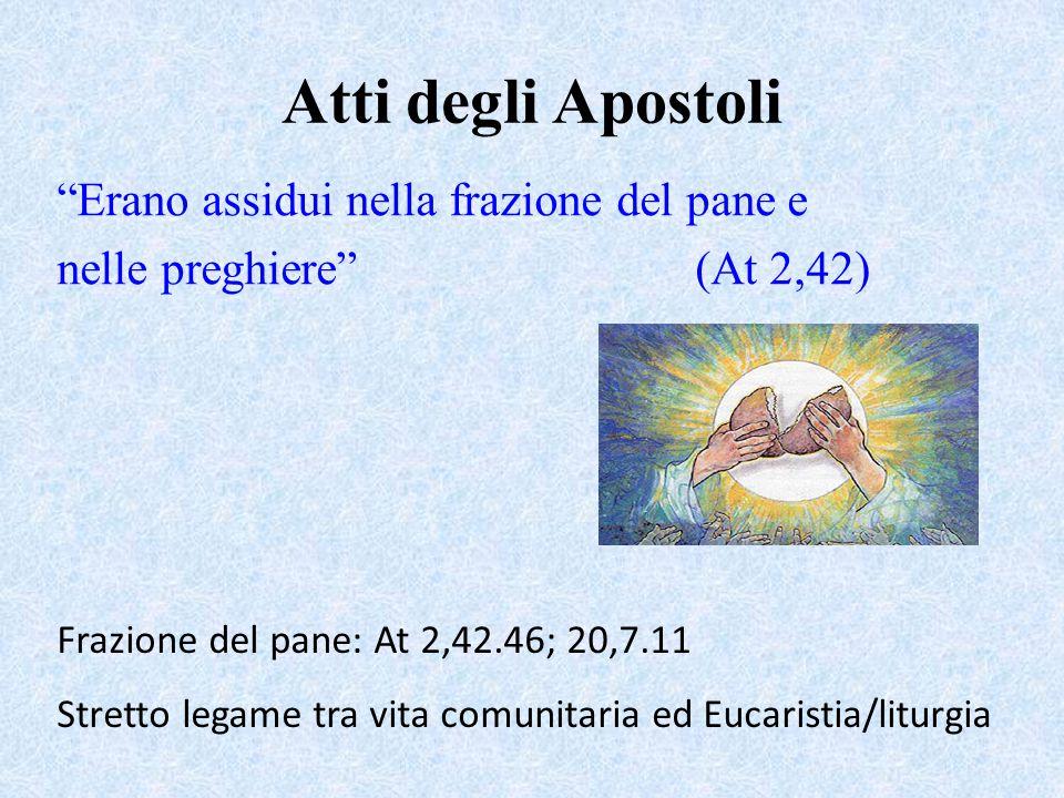 Atti degli Apostoli Erano assidui nella frazione del pane e nelle preghiere (At 2,42) Frazione del pane: At 2,42.46; 20,7.11 Stretto legame tra vita comunitaria ed Eucaristia/liturgia
