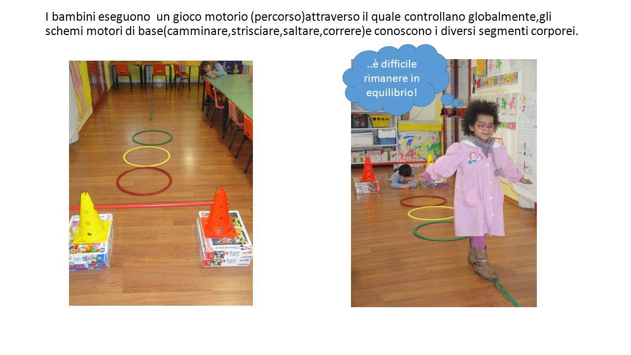 I bambini eseguono un gioco motorio (percorso)attraverso il quale controllano globalmente,gli schemi motori di base(camminare,strisciare,saltare,correre)e conoscono i diversi segmenti corporei...è difficile rimanere in equilibrio!
