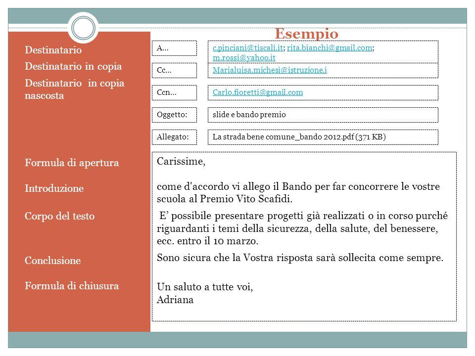 Esempio Destinatario Destinatario in copia Destinatario in copia nascosta Formula di apertura Introduzione Corpo del testo Conclusione Formula di chiu