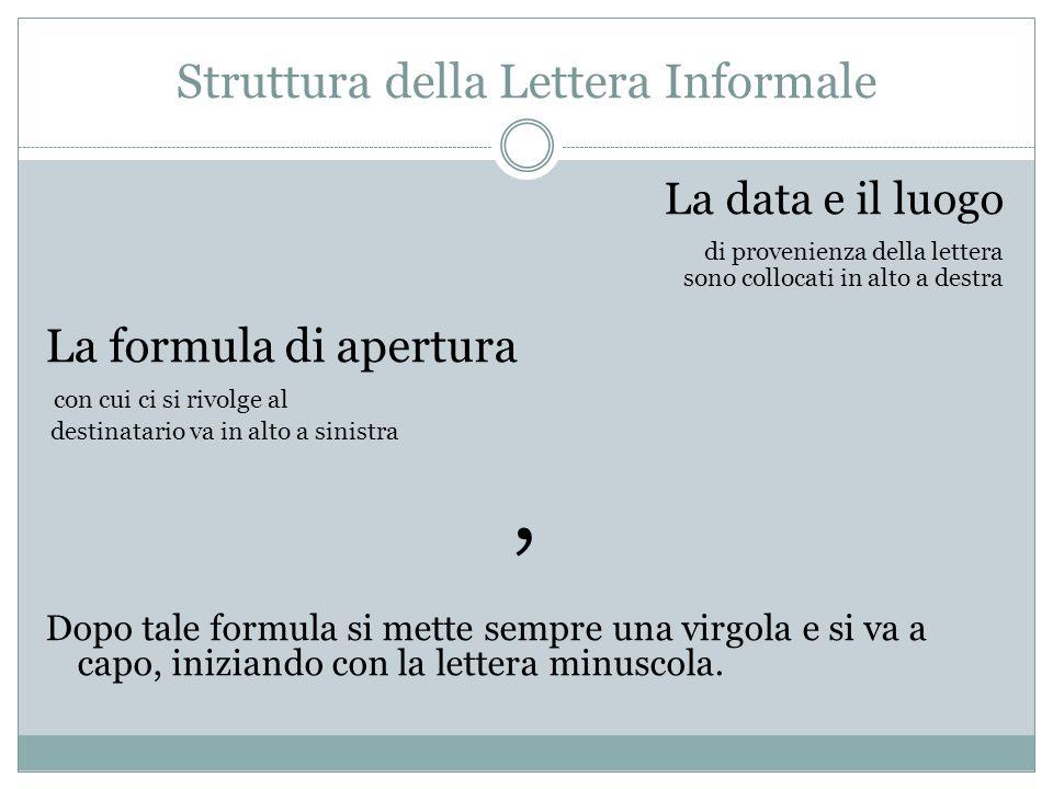 Struttura della Lettera Informale La data e il luogo di provenienza della lettera sono collocati in alto a destra La formula di apertura con cui ci si