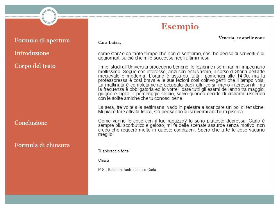 Esempio Formula di apertura Introduzione Corpo del testo Conclusione Formula di chiusura Venezia, 12 aprile 2002 Cara Luisa, come stai? è da tanto tem