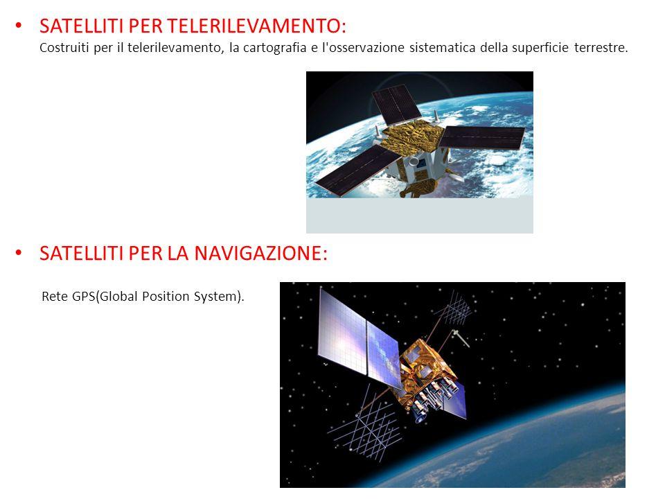 SATELLITI PER TELERILEVAMENTO: Costruiti per il telerilevamento, la cartografia e l osservazione sistematica della superficie terrestre.
