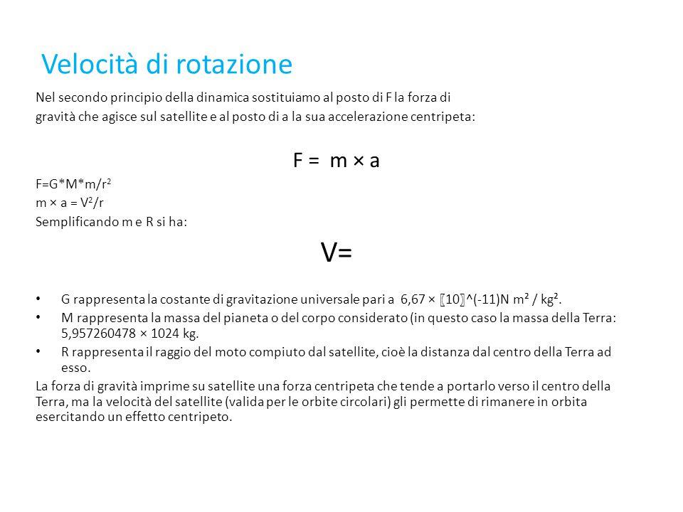 Velocità di rotazione Nel secondo principio della dinamica sostituiamo al posto di F la forza di gravità che agisce sul satellite e al posto di a la sua accelerazione centripeta: F = m × a F=G*M*m/r 2 m × a = V 2 /r Semplificando m e R si ha: V= G rappresenta la costante di gravitazione universale pari a 6,67 × 〖 10 〗 ^(-11)N m² / kg².