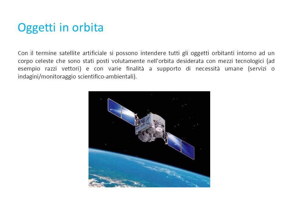 Oggetti in orbita Con il termine satellite artificiale si possono intendere tutti gli oggetti orbitanti intorno ad un corpo celeste che sono stati posti volutamente nell orbita desiderata con mezzi tecnologici (ad esempio razzi vettori) e con varie finalità a supporto di necessità umane (servizi o indagini/monitoraggio scientifico-ambientali).
