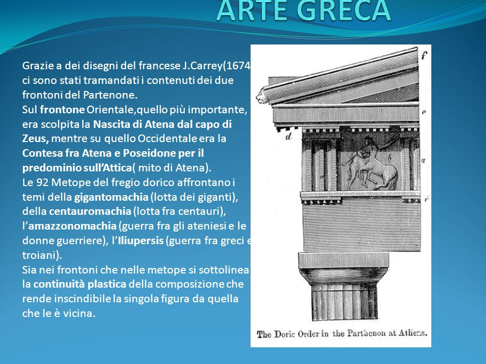 Grazie a dei disegni del francese J.Carrey(1674) ci sono stati tramandati i contenuti dei due frontoni del Partenone.