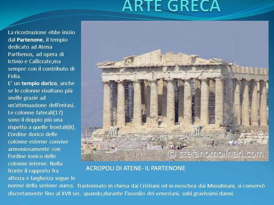 ACROPOLI DI ATENE- IL PARTENONE La ricostruzione ebbe inizio dal Partenone, il tempio dedicato ad Atena Parthenos, ad opera di Ictinio e Callicrate,ma sempre con il contributo di Fidia.