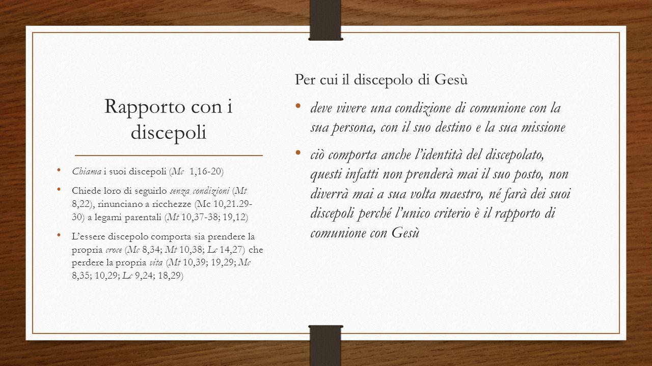 Rapporto con i discepoli Per cui il discepolo di Gesù deve vivere una condizione di comunione con la sua persona, con il suo destino e la sua missione