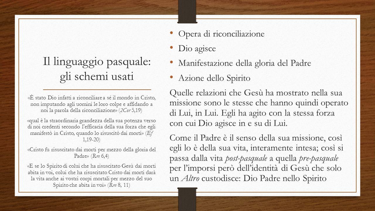 Il linguaggio pasquale: gli schemi usati Opera di riconciliazione Dio agisce Manifestazione della gloria del Padre Azione dello Spirito Quelle relazio