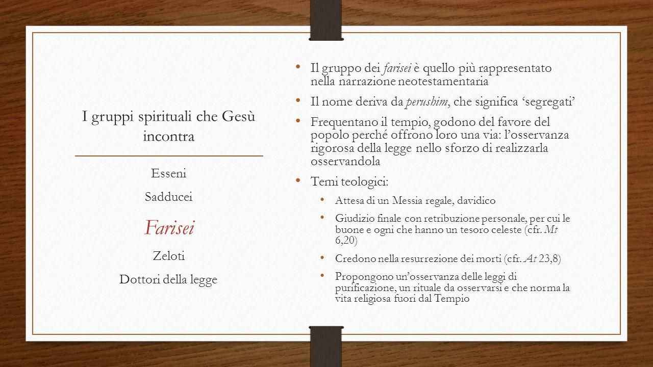 I gruppi spirituali che Gesù incontra È l'ala separatista dei farisei, quella con tendenze indipendentiste nei confronti dell'occupazione romana.
