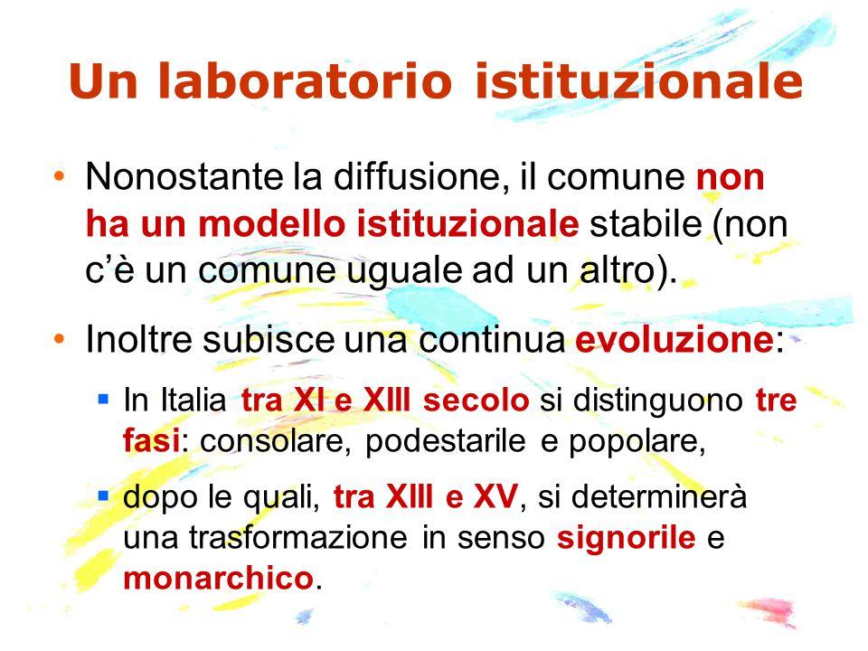 Un laboratorio istituzionale Nonostante la diffusione, il comune non ha un modello istituzionale stabile (non c'è un comune uguale ad un altro).