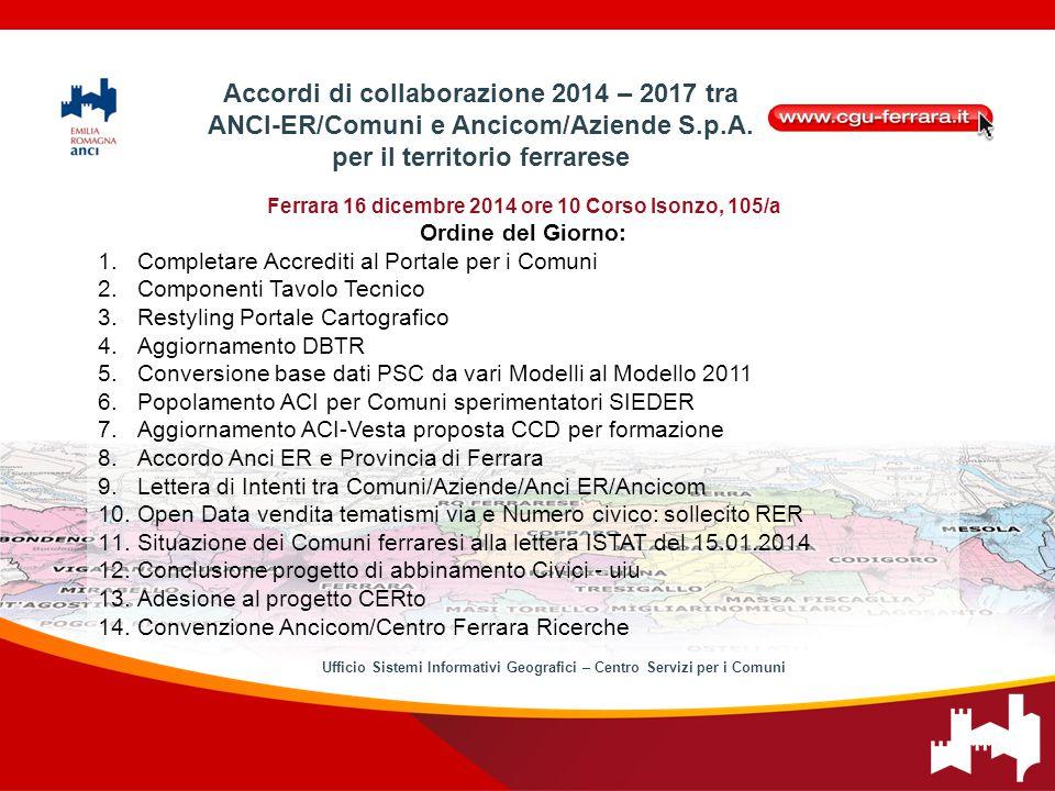 Ferrara 16 dicembre 2014 ore 10 Corso Isonzo, 105/a Ordine del Giorno: 1.Completare Accrediti al Portale per i Comuni 2.Componenti Tavolo Tecnico 3.Re